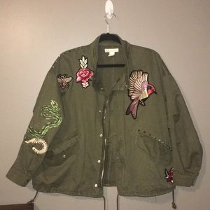 Embroidered military jacket army green size small